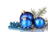 Christmas ball and green tree on white background — Stock Photo