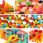 Collage of different colorful candy and sweets — Stock Photo