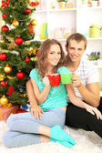 Happy young couple near Christmas tree at home — Foto de Stock