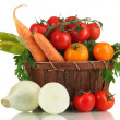 Stock Photo: Fresh vegetables in basket isolated on white