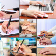 Collage of business people hands — Stock Photo