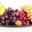 Golden tray with fruits isolated on white — Stock Photo