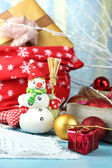 Beautiful Christmas composition with Christmas toys close-up — Stockfoto