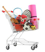 Shopping cart with sport equipment — Stock Photo