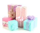Beautiful bright gifts, isolated on white — Stock Photo