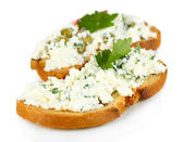Sandwich with cottage cheese and greens isolated on white — Stock Photo