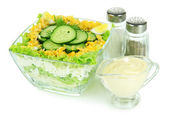 Delicious salad with eggs, cabbage and cucumbers, isolated on white — Stock Photo
