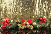 Composition of the Christmas decorations on golden background — Foto de Stock