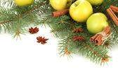 Composición de navidad hermosa, aislado en blanco — Foto de Stock