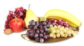 Golden tray with fruits isolated on white — Foto de Stock