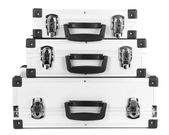 Silvery suitcases isolated on white — Stock Photo