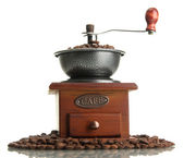 Coffee grinder with coffee beans, isolated on white — Stock Photo