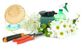 Composition with florist tools isolated on white — Stock Photo