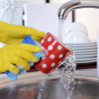 Close up hands of woman washing dishes in kitchen — Stock Photo #35011383
