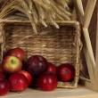 Ripe apples in basket on shelf close up — Stock Photo #35011651