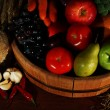 Composition of different fruits and vegetables on table close up — Stock Photo