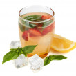 Basil lemonade with strawberry in glass, isolated on white — Stock Photo #35014369