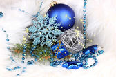 Christmas decoration in white fur — Стоковое фото