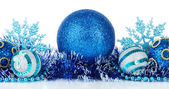 Composition of the Christmas decorations isolated on white — Stock Photo