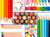 Color pencils collage — Stockfoto