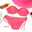 Swimsuit and beach items isolated on white — Stock Photo #35021015