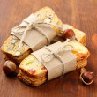 Stock Photo: Biscotti with candied fruits, on wooden background