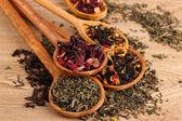 Assortiment de thé sec en cuillères, sur fond de bois — Photo