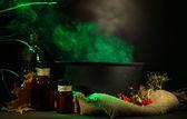Scary Halloween laboratory on dark color background — Stock Photo