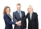 群上白色孤立的业务人 — 图库照片