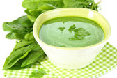 Tasty spinach soup, isolated on white — Stock Photo