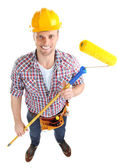 Portrait of young builder isolated on white — 图库照片