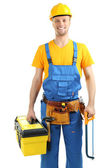 Portrait of young builder isolated on white — Foto Stock