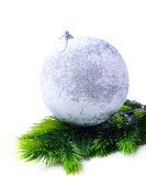 Christmas ball on fir tree, isolated on white — Stok fotoğraf