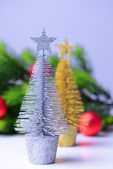 Decorative Christmas trees, fir tree branch, isolated on white — Zdjęcie stockowe