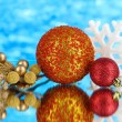 Composition of Christmas balls on blue background — Foto de Stock