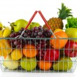 Different fruits and vegetables in metal basket isolated on white — Stock Photo #35147619