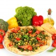Tasty vegetarian pizza and vegetables, isolated on white — Lizenzfreies Foto
