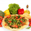 Tasty vegetarian pizza and vegetables, isolated on white — Stock Photo #35148331
