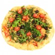 Tasty vegetarian pizza, isolated on white — Stock Photo