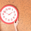 Stock Photo: Clock on wall background