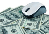 Computer mouse on dollars close up — Stock Photo