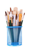 Many brushes in stand isolated on white — Stock Photo