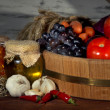 Composition of different fruit and vegetables on table on wooden background — Stock Photo