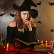 Halloween witch on dark background — Stok Fotoğraf #35202589