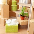Stock Photo: Stack of cartons near stairs: moving house concept