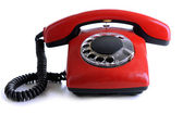 Red retro telephone, isolated on white — Foto Stock