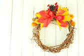 Beautiful Thanksgiving wreath, on white wooden background — Foto de Stock