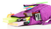 Purple backpack with school supplies isolated on white — Foto de Stock