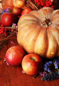 Autumn composition of apples, pumpkins, flowers and dry branches on wooden table close-up — Stock Photo