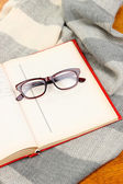 Composition with old book, eye glasses and plaid on wooden background — Stock Photo